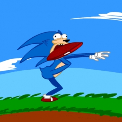 Scared Sonic The Hedgehog Running The Track