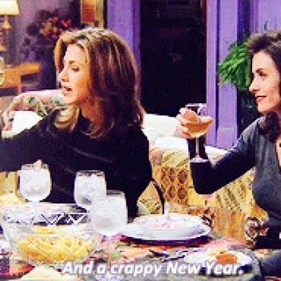 Rachel and Monica Toast To a Lousy Christmas and a Happy New Year On ...